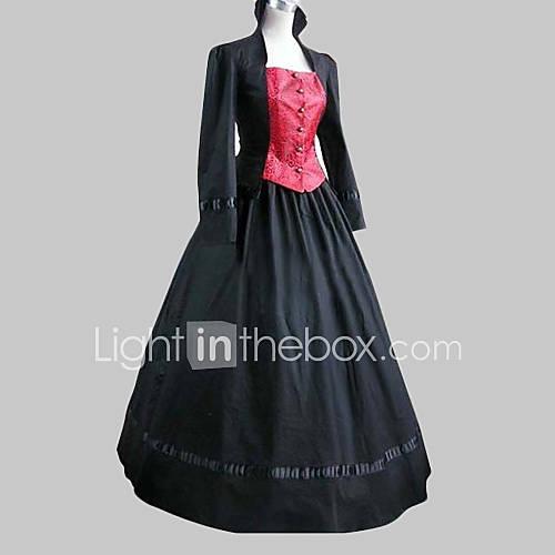 Una Sola Pieza/Vestidos Lolita Clásica y Tradicional Lolita Cosplay Vestidos de Lolita Negro / Rosado Retazos Manga Larga Longitud Larga Descuento en Lightinthebox