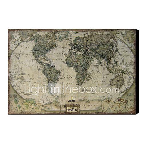 Gedrukt art vintage linen kaart van de wereld 1212 0149 497046 2016 - Vintage bank thuis van de wereld ...