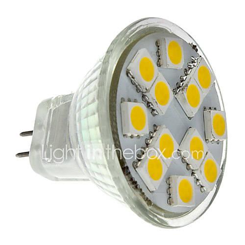 MR11 1.5W 140-160lm 12x5050SMD 2700-3000K lumière blanche chaude Ampoule LED Spot (12V)