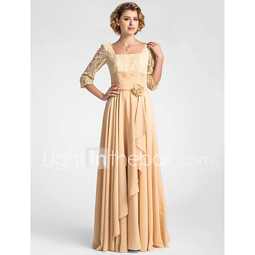 place une ligne de plancher-longueur dentelle et mousseline Mère de la robe de mariée