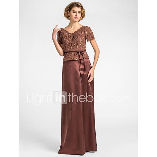 gaine / colonne v-cou-parole longueur dentelle et satin extensible mère de la robe de mariée