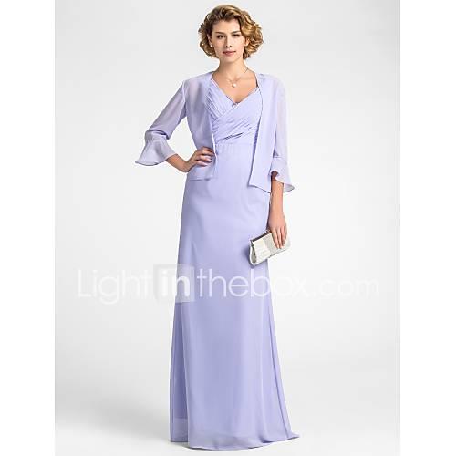 LIBENA - Robe de Mère de Mariée Mousseline - Châle Inclus