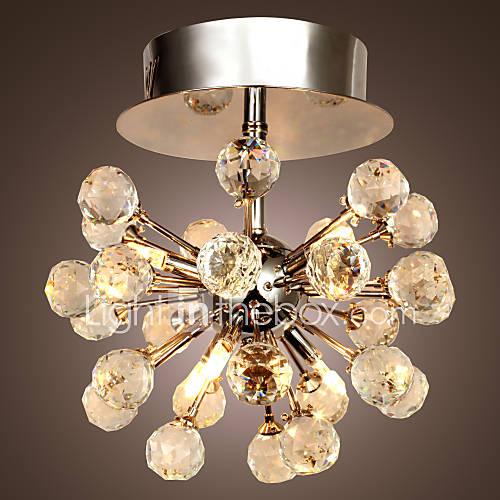 Lustre en Cristal à 6 Ampoules, Style Moderne