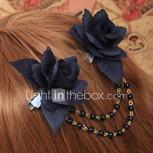 USD $ 14.99 Handmade Black Rose Cotton Gothic Lolita головной убор с бисером цепи.