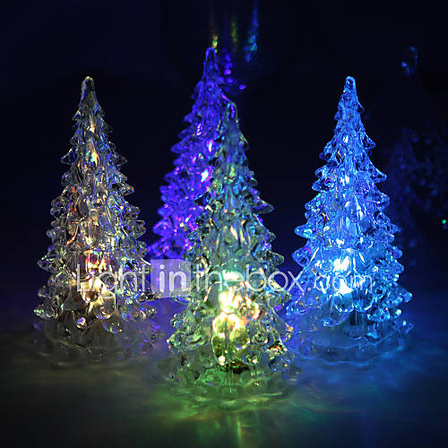 acrylic vinyl christmas tree led lamp set of 4 color changing built in botton cell 563386. Black Bedroom Furniture Sets. Home Design Ideas