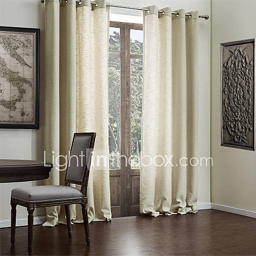 Modern Two Panels Solid Beige Living Room Faux Linen ...