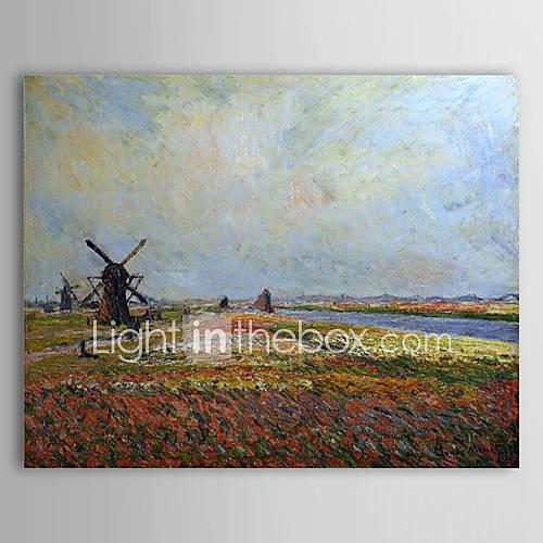 RUB p. 3 457,72 Известные картины маслом поле цветов и ветряные мельницы вблизи Лейдена Клода Моне.