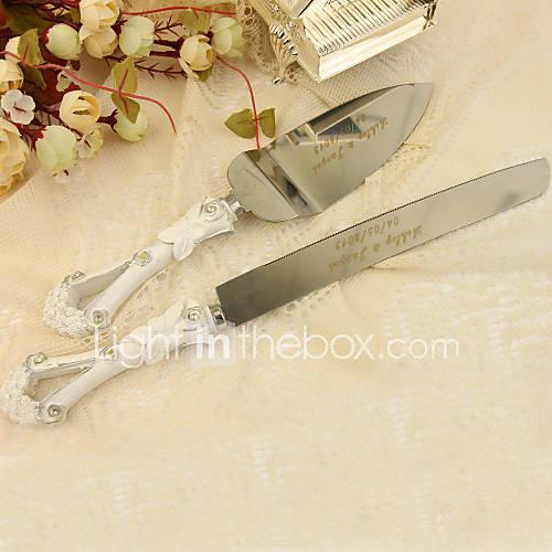 conjuntos que sirven boda cuchillo pastel personalizado torta pedrería porción fija en el mango de resina Descuento en Lightinthebox