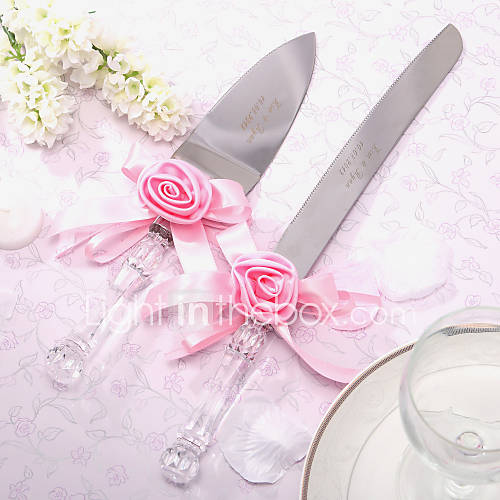 serving sets wedding cake knife personalized satin rose cake knife and server set 562796 2016. Black Bedroom Furniture Sets. Home Design Ideas