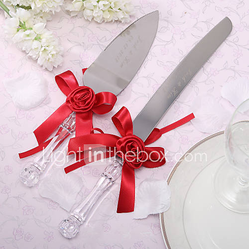 serving sets wedding cake knife personalized satin flower cake knife and server set 552145 2016. Black Bedroom Furniture Sets. Home Design Ideas