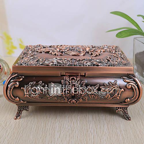Caja de joyería de la vendimia del diseño de Rose de la aleación de las mujeres Lightinthebox