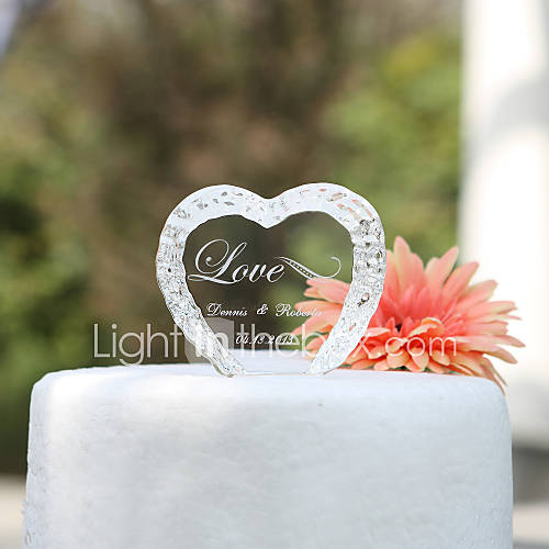 Cake Topper Personalized Hearts Classic Couple Crystal Wedding Bridal Shower Anniversary