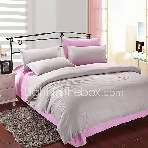 4 pi ces gris et rose housse de couette de coton d 39 impression de 572976 2016. Black Bedroom Furniture Sets. Home Design Ideas