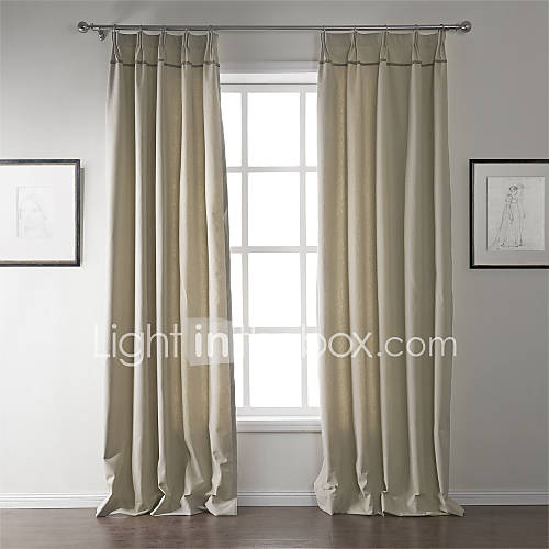 Modern Two Panels Solid Beige Living Room Linen Cotton ...
