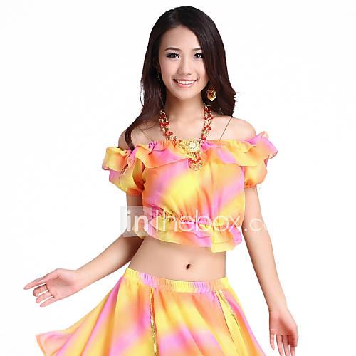 Vêtements en mousseline de soie danse de ventre coloré Top For Ladies