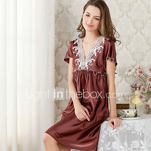 élégant sexy manches courtes en dentelle pyjama des femmes