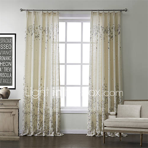 Country Two Panels Floral Botanical Beige Bedroom Linen