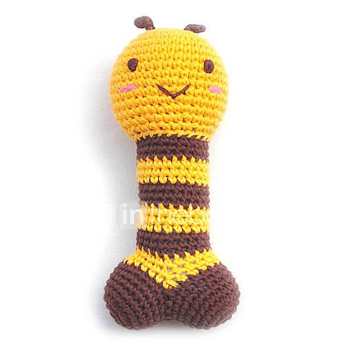 Respectueux de l'environnement Modèle d'abeille au crochet de fil de coton Toys Squeak mignon pour les chiens (Longueur: 18cm)