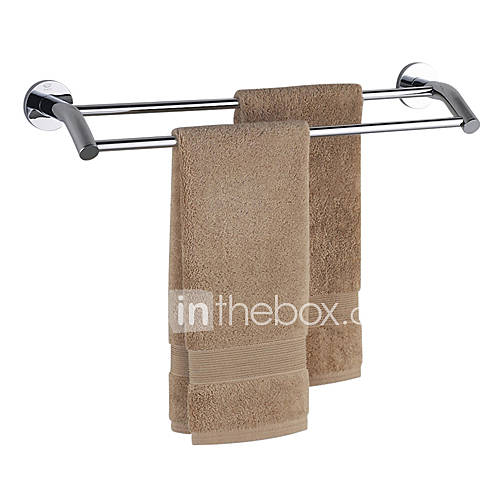 chrome finish bathroom brass double bar towel rack 614264