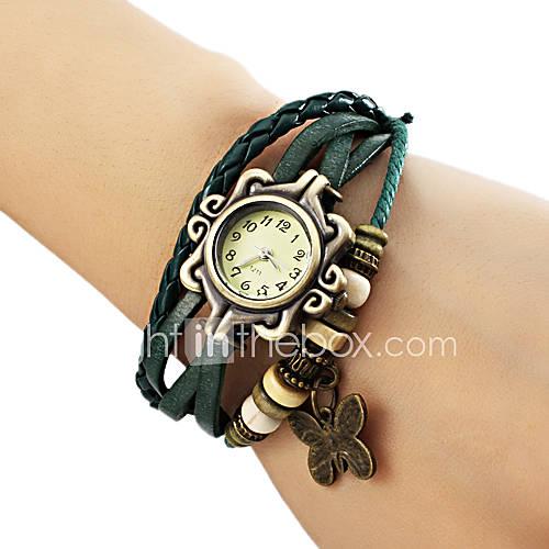 Mujer Reloj de Moda Cuarzo PU Banda Mariposa / Bohemio Negro / Azul / Marrón / Verde Marca- Descuento en Lightinthebox