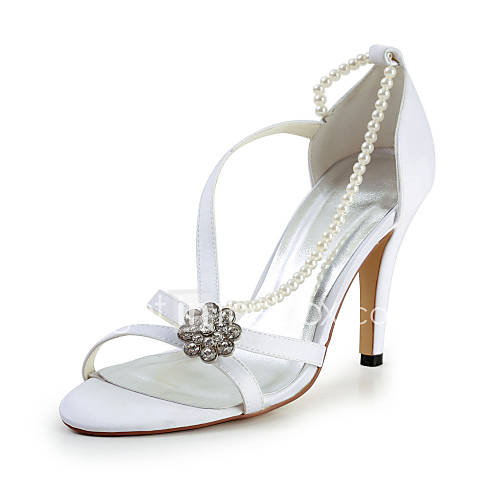 charming satin stiletto sandalen mit imitation pearl and strass hochzeit schuhe weitere farben. Black Bedroom Furniture Sets. Home Design Ideas