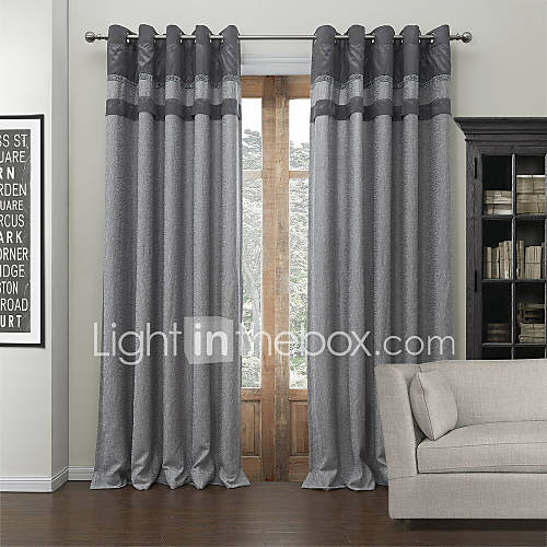 Modern two panels solid grey living room poly cotton blend for Cortinas salon gris