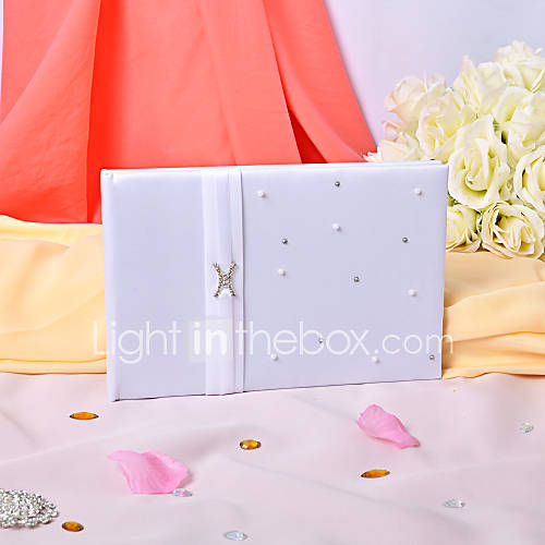 Simple Wedding Guest Book With Imitation Pearl 668913 2017