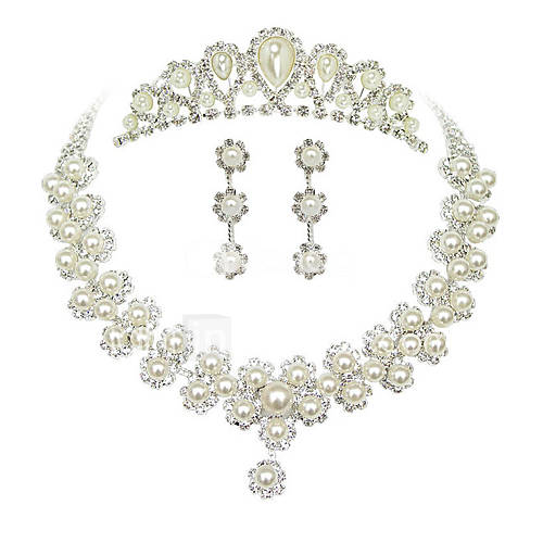 Dulce perla de la plata metálica Tiara pendientes collar de boda Descuento en Lightinthebox