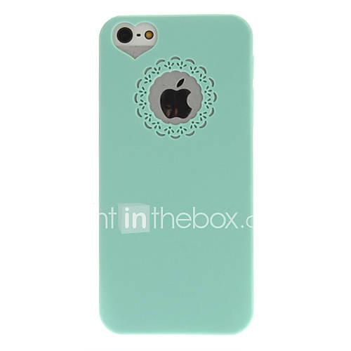 menthe cas dur de pc vert avec des fleurs de gravure et place du trou en forme de coeur pour l'iphone 5/5s