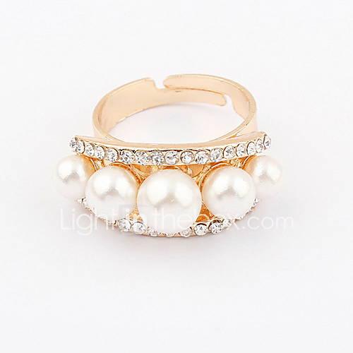 Alliage attrayant avec l'anneau perle strass femmes