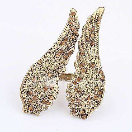 Alliage attrayant avec des ailes d'ange de Rhinestone de l'Anneau de forme des femmes
