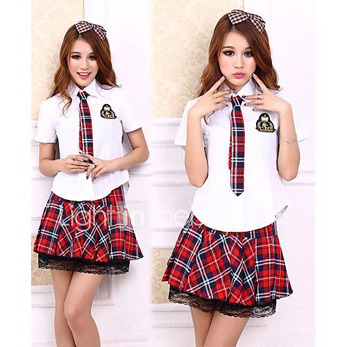 I go to a private school, and we wear these blue and white plaid skirts. I like to be a trend-setter, so I wear fun colorful necklaces, bright rings and fun printed knee socks with my uniform.