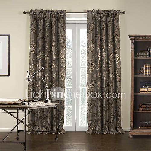 (Two Panels) Jacquard Brown Gardern Blackout Curtain