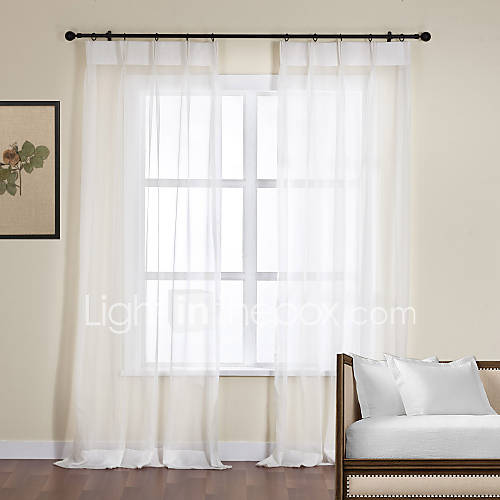 One Pair Off White Polyester Sheer Curtain 696676 2016