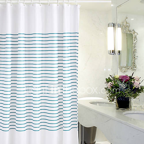 Simple Stripe Waterproof Thick Polyester Shower Curtain