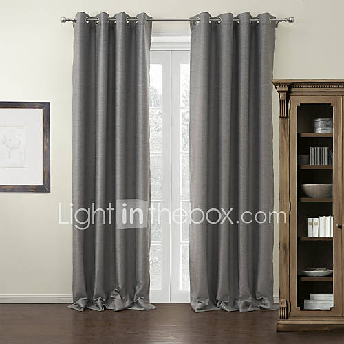 Two Panels Curtain Modern , Solid Living Room Polyester Material ...