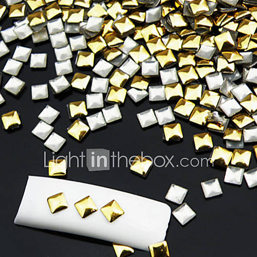 50PCS d'or et d'argent mixte Rivet Nail Art Décorations