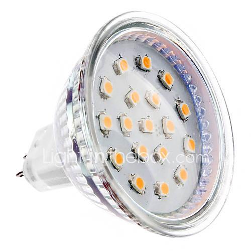 GU5.3 MR16 4W 15x2835smd 300lm 2700K bianco caldo ha condotto la luce del punto della lampadina (12v)