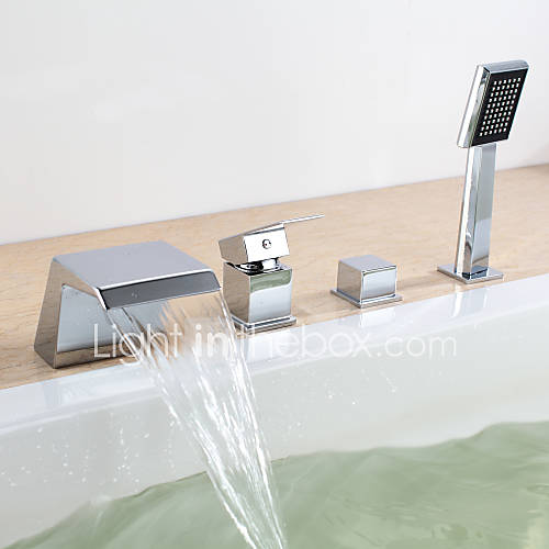 Modern muurbevestigd waterval with keramische ventiel twee handgrepen vier gaten for chroom - Moderne badkraan ...