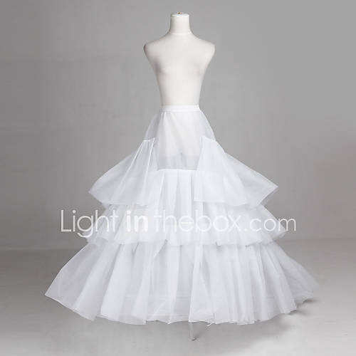 Polyester and tulle full bridal gown floor length wedding for Tulle petticoat for wedding dress