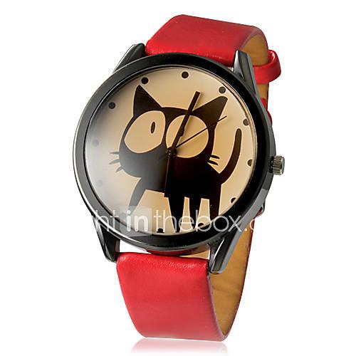 Mujer Reloj de Moda Cuarzo PU Banda Caricaturas Negro / Blanco / Rojo Marca- Descuento en Lightinthebox