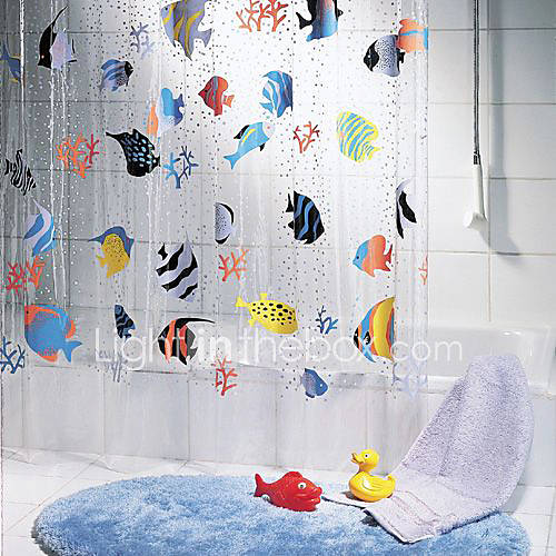 Tropical Fish Pattern PVC Shower Curtain