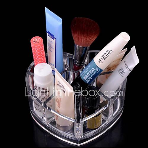 acrylique stockage cosmétique transparent support de brosse de maquillage pot cœur aimant organisateur cosmétique en forme