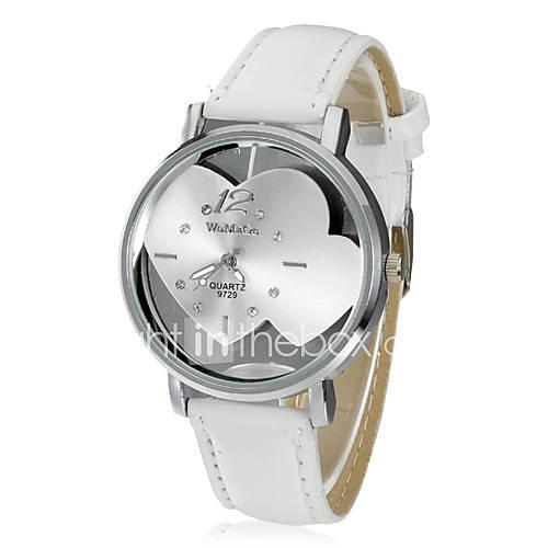 Translucence PU banda de cuarzo reloj de pulsera de las mujeres en forma de corazón del dial del análogo (Blanco) Descuento en Lightinthebox