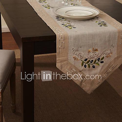 Beige linen cotton blend rectangular table runners for Chemin de table moderne