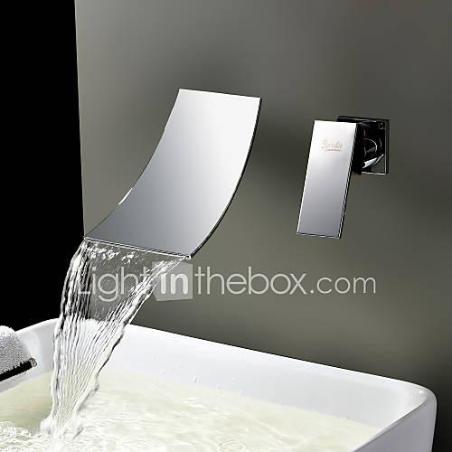 espolvorear  por lightinthebox - cascada generalizada grifo del fregadero cuarto de baño contemporáneo (cromado) Descuento en Lightinthebox