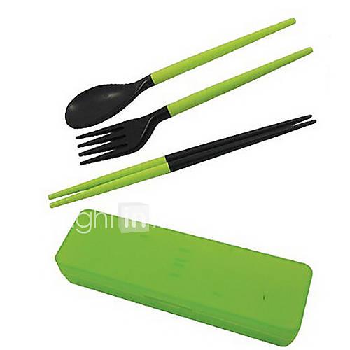 viajar portátil desmontable de plástico palillos  cuchara  tenedor conjunto con caja de almacenamiento (color al azar) Descuento en Lightinthebox
