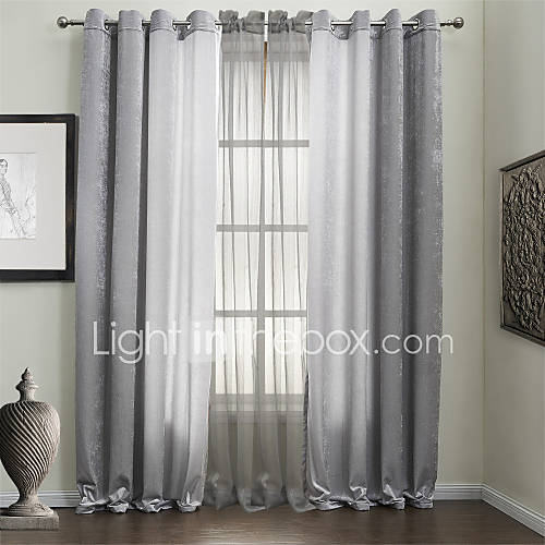TWOPAGES® Two Panels Solid Silver Energy Saving Curtains