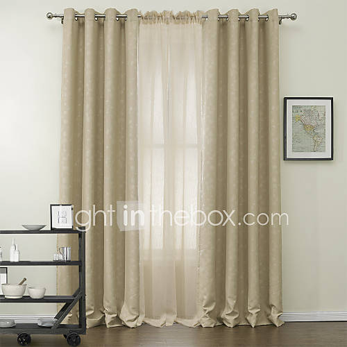 Two Panels Tender Leaf Blackout Curtains Drapes With Sheer