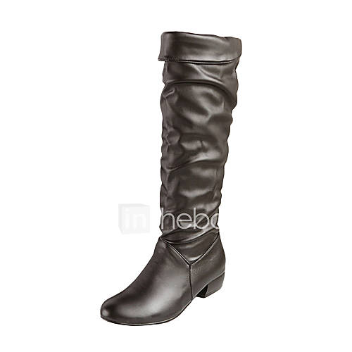 faux leather flat heel slouch boots more colors 819775